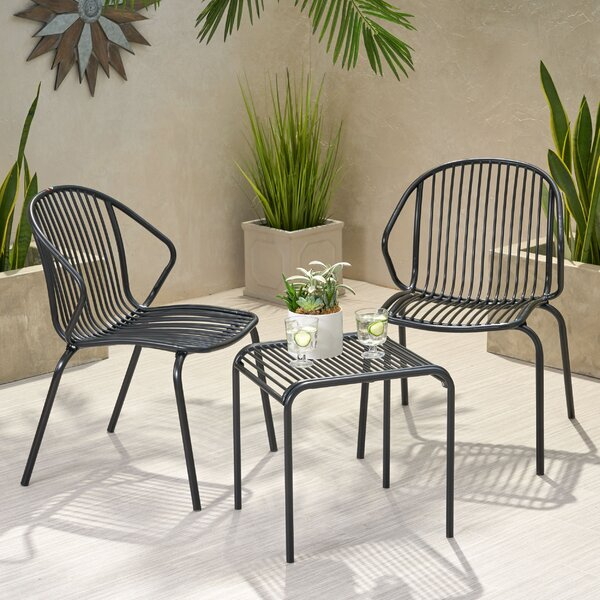 Corbeil Outdoor Modern Iron 3 Piece Seating Group by Ebern Designs