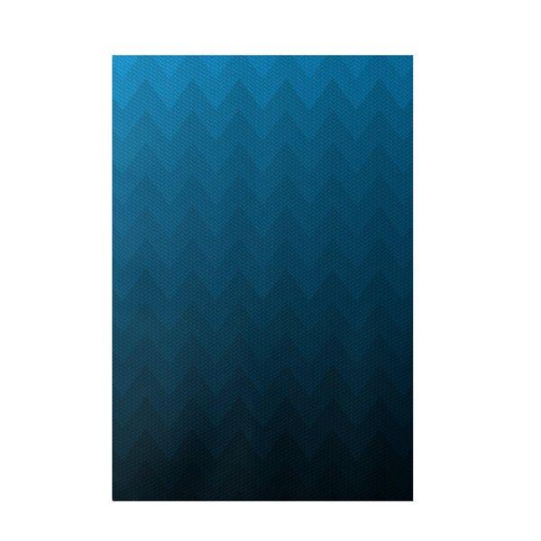 Chevron Blue Indoor/Outdoor Area Rug by e by design
