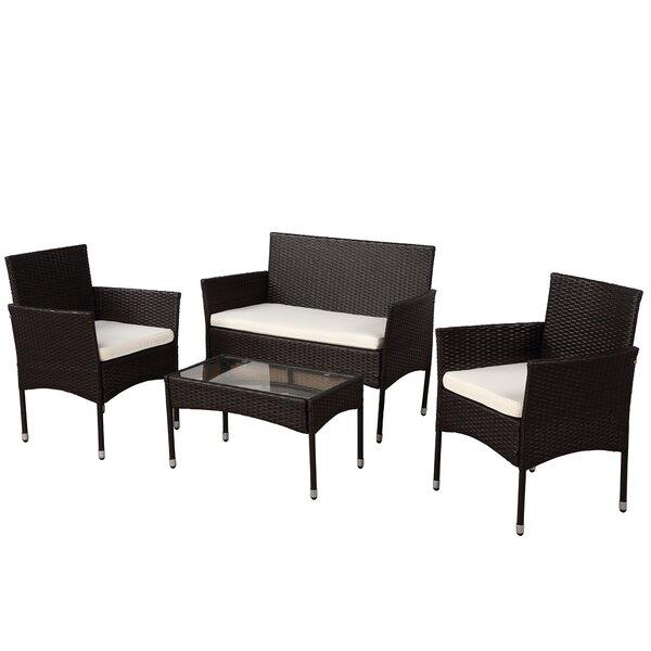 Darrington 4 Piece Rattan Sofa Seating Group With Cushions by Latitude Run