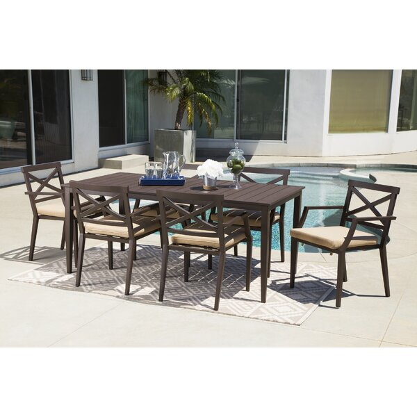 Brooklet 7 Piece Sunbrella Dining Set with Cushions by Fleur De Lis Living
