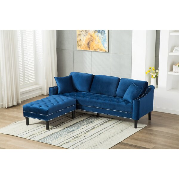 Modern Beautiful Kasson Chesterfield Sofa with Ottoman by Mercer41 by Mercer41