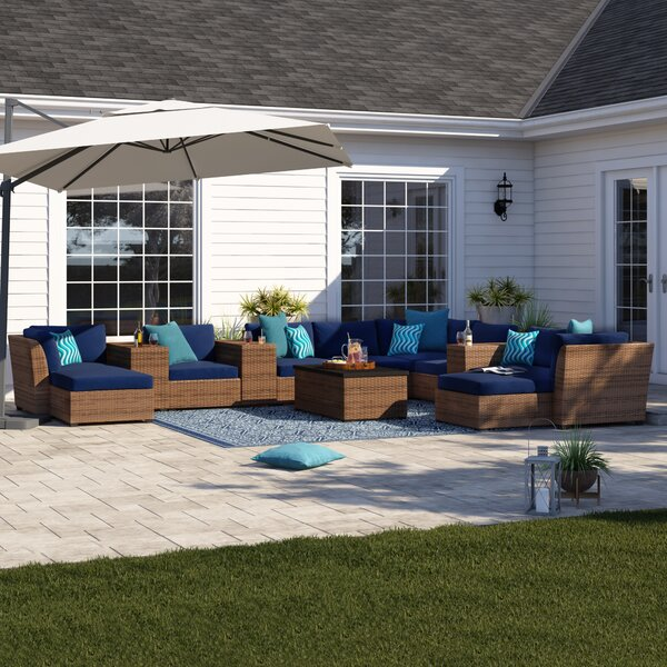 Waterbury 14 Piece Rattan Sectional Seating Group with Cushions by Sol 72 Outdoor