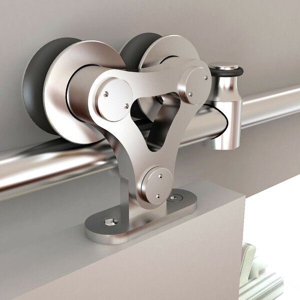 Stainless Steel Top Mount Dual Wheel Rolling Barn Door Hardware Kit by Custom Service Hardware