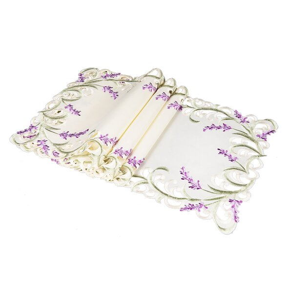 Brunon Lavender Lace Embroidered Cutwork Placemat (Set of 4) by One Allium Way