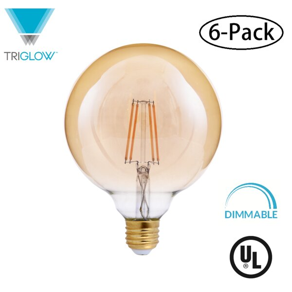40W Equivalent Amber E26 LED Globe Edison Light Bulb (Set of 6) by TriGlow