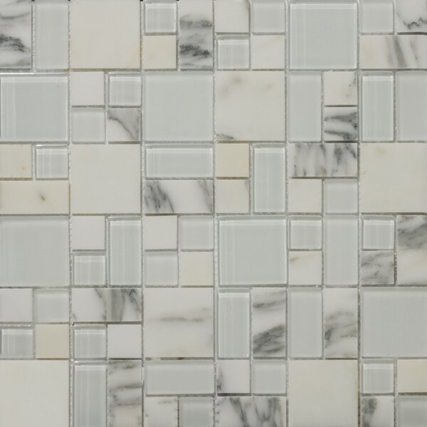 Lucente 13 x13 Glass Stone Blend Pattern Mosaic Tile in Ambrato by Emser Tile