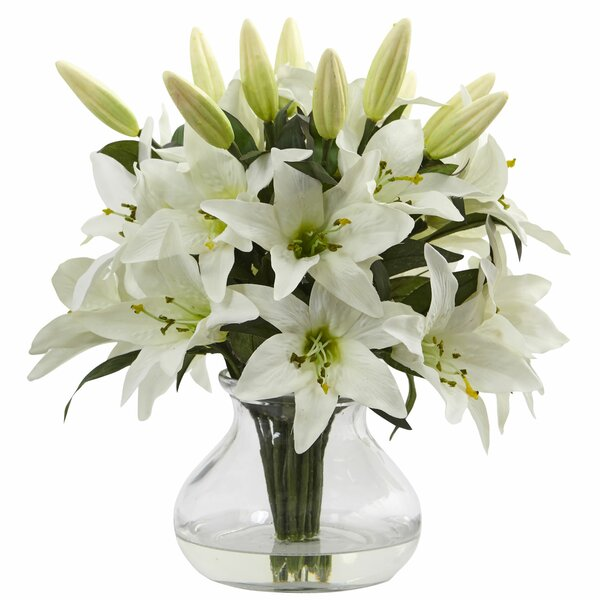 Lily Arrangement in Vase by Nearly Natural