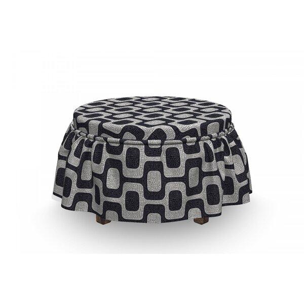 Abstract Modern Pavement Mosaic 2 Piece Box Cushion Ottoman Slipcover Set By East Urban Home