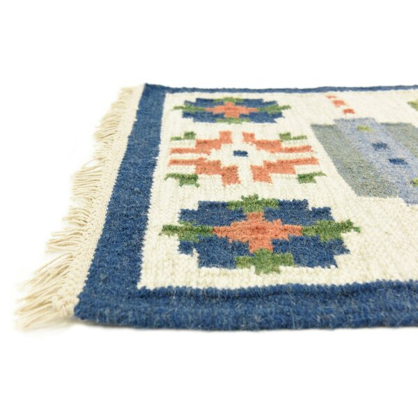 Rosario Hand woven Wool Blue/Beige Area Rug by Loon Peak