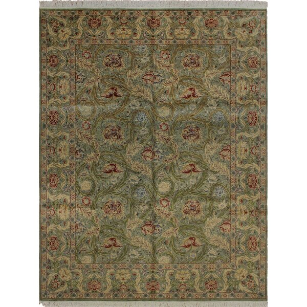 One-of-a-Kind Mickey Traditional Hand Knotted Rectangle Wool Green Area Rug by Isabelline
