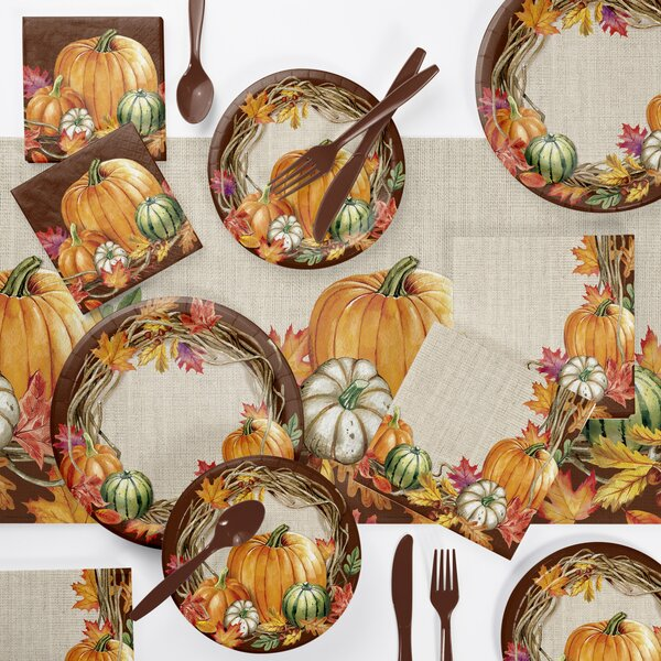 Maja Wreath Thanksgiving 73 Piece Party Supplies Kit by The Holiday Aisle