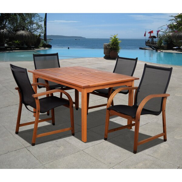 Trosclair International Home Outdoor 5 Piece Dining Set by Highland Dunes