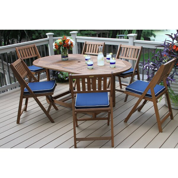 Roseland 7 Piece Dining Set with Cushion by Beachcrest Home