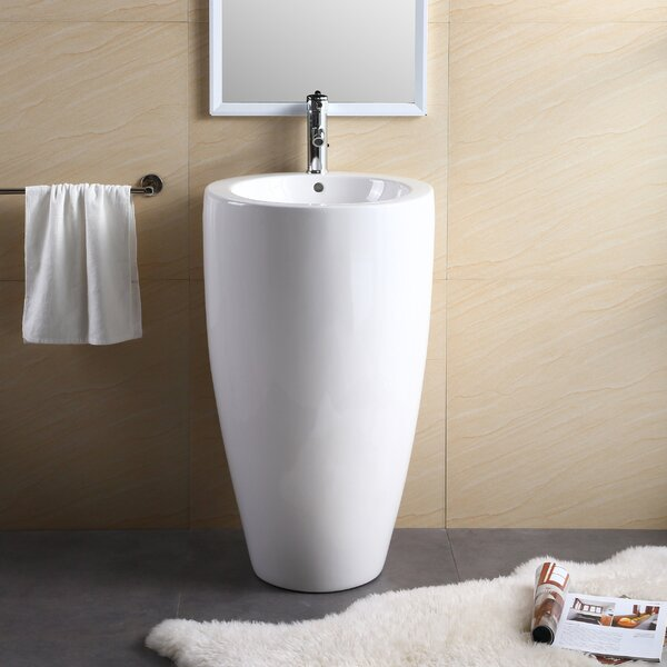 Vitreous China 20 Pedestal Bathroom Sink with Over