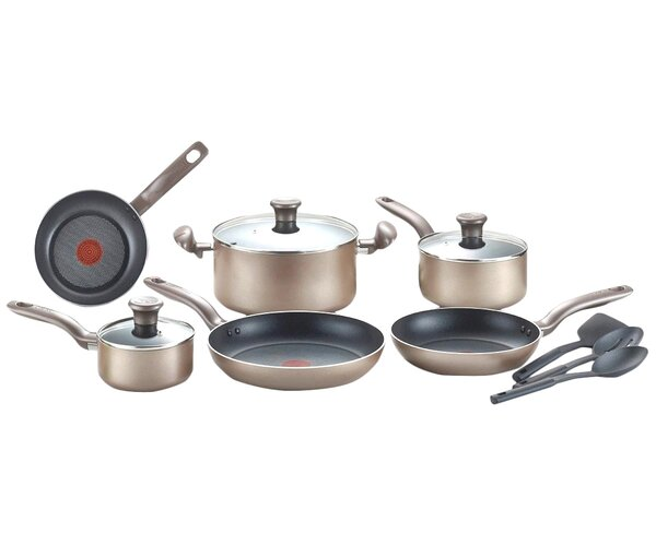 Metallic Bronze 12 Piece Cookware Set by T-fal