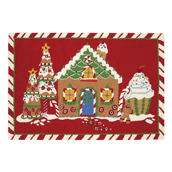 Matchett Gingerbread Joy House Hand-Hooked Wool Red Area Rug by The Holiday Aisle