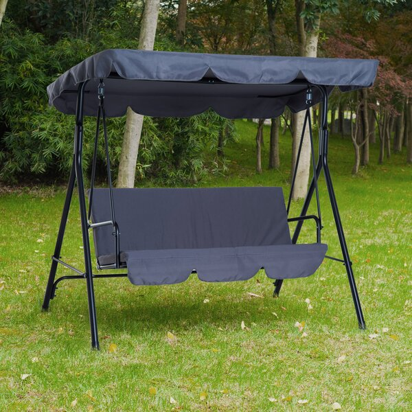 Higham Steel Fabric Outdoor Canopy Porch Swing with Stand by Freeport Park Freeport Park