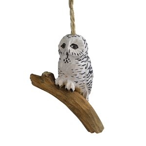 Handcrafted Wood Snowy Owl Hanging figurine