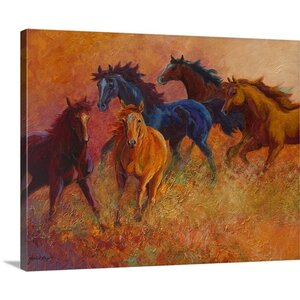 'Free Range Horses' Painting Print on Wrapped Canvas by Loon Peak