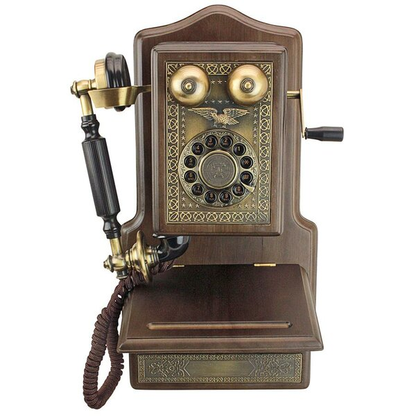 Antique Country Kitchen Decor 1907 Rotary Wall Telephone by Design Toscano