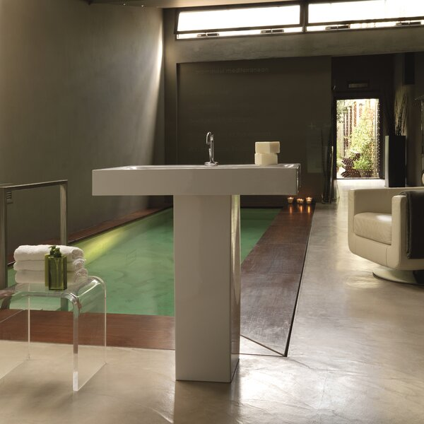 Cento Ceramic 35 Pedestal Bathroom Sink with Overflow by WS Bath Collections