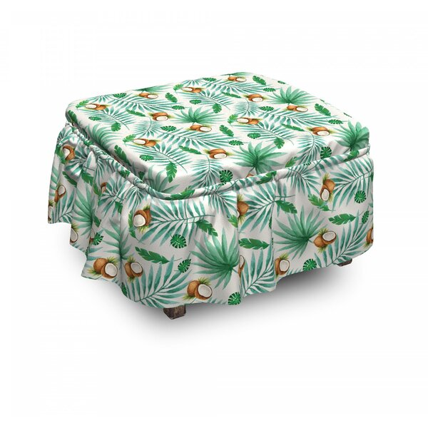 Coconut Aloha Hawaii 2 Piece Box Cushion Ottoman Slipcover Set By East Urban Home