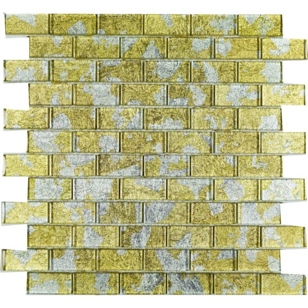 Wall Paper Underneath 1 x 2 Glass Mosaic Tile in Egyptian Gold by Multile