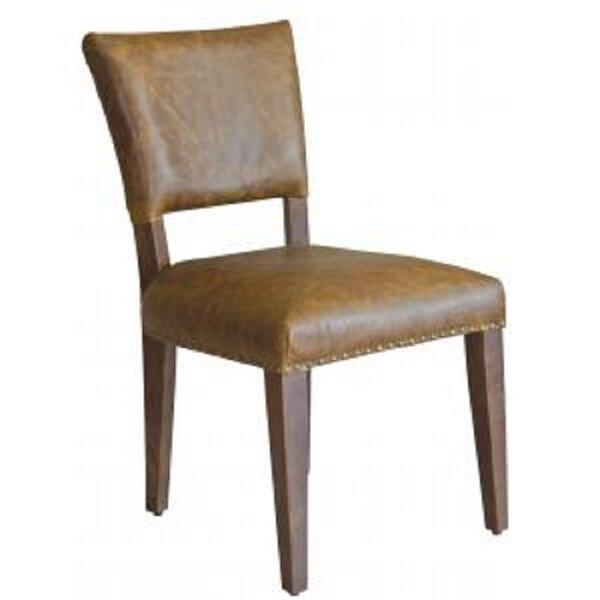 Garnes Leather Upholstered Side Chair In Brown By Loon Peak