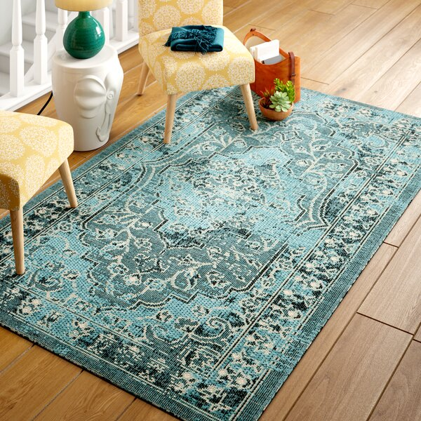 Port Laguerre Turquoise Area Rug by Bungalow Rose