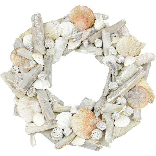 Nautical Driftwood and Seashell Artificial Summer Wreath by Northlight Seasonal