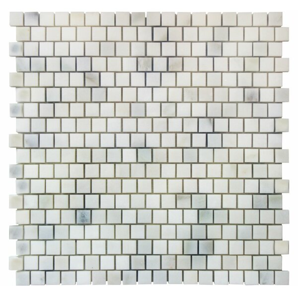 Offset 0.63 x 0.63 Marble Mosaic Tile in Calacatta by Ephesus Stones