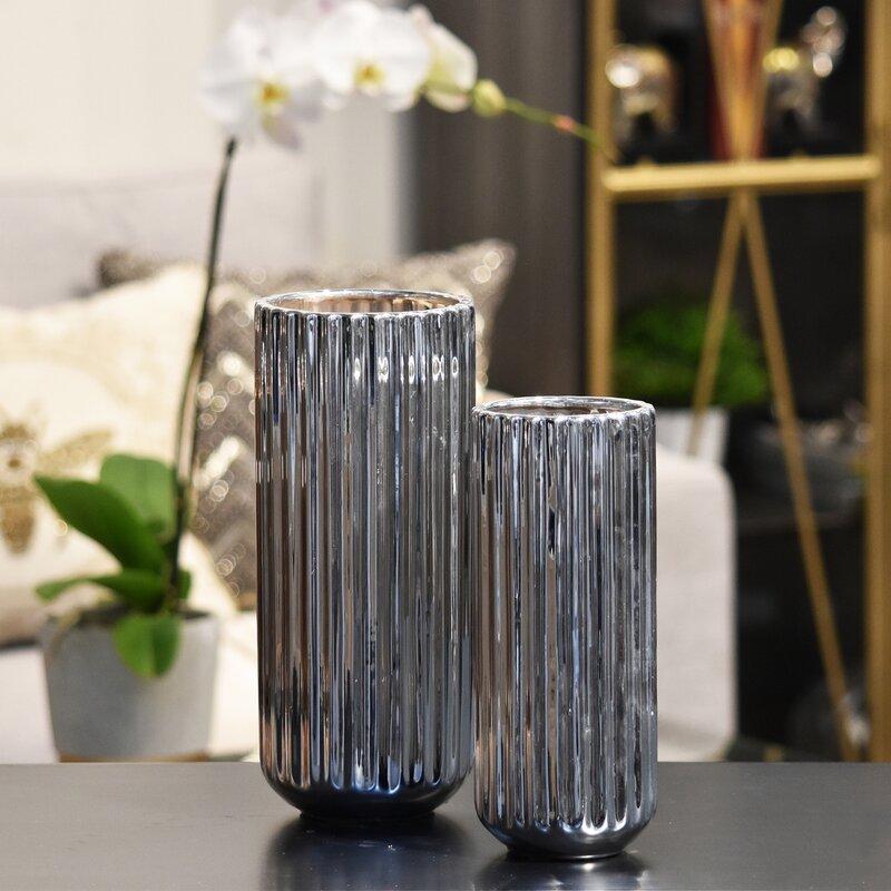 Urban Trends 2 Piece Tall Cylindrical Flower Vase Set Wayfair