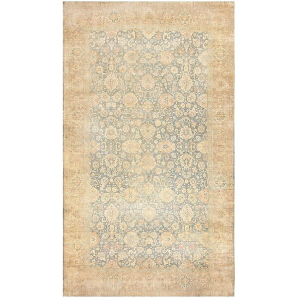 One-of-a-Kind Indian Hand-Knotted Blue 12' x 19'7 Wool Area Rug