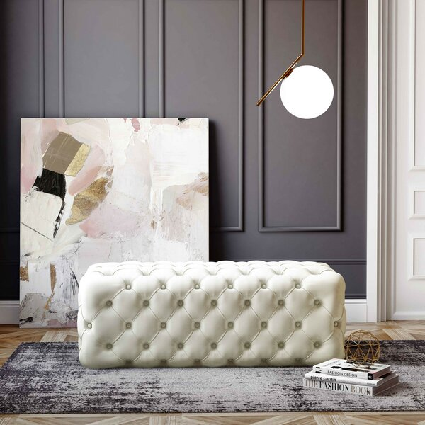 Shari Kaylee Sea Tufted Cocktail Ottoman by Everly Quinn