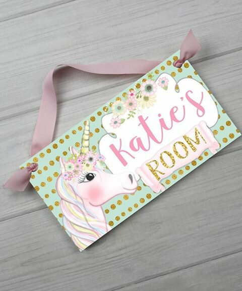 Unicorn Personalized Door Sign by Toad and Lily