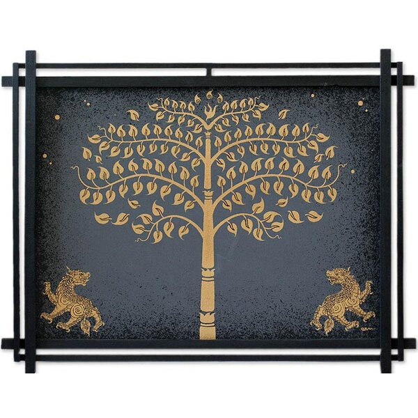 Bo Tree with Lions by Parinya Nanjai Framed Graphic Art by Novica