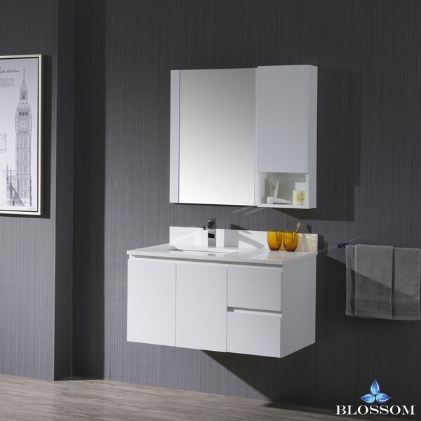 Maly Modern 36 Single Bathroom Vanity Set with Rectangular Mirror by Orren Ellis