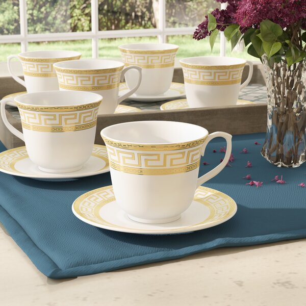 Tod Greek Key Tea Cup and Saucer Set (Set of 6) by Bloomsbury Market