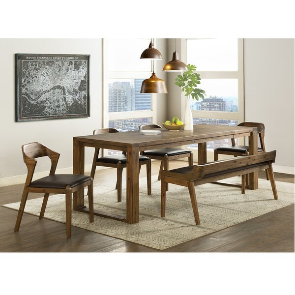 Bourgoin 6 Piece Drop Leaf Solid Wood Dining Set by Foundry Select