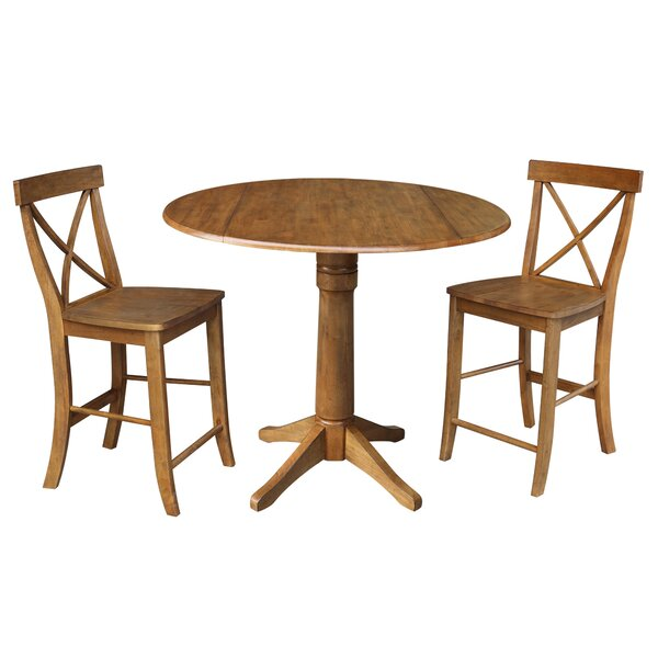 Spring Round Top Pedestal Extending 3 Piece Counter Height Drop Leaf Dining Set by August Grove