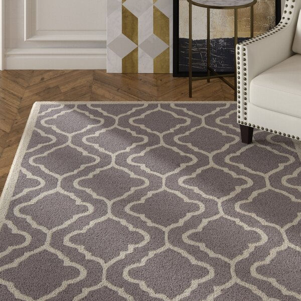 Electra Hand Tufted Rectangle Contemporary Gray/Cream Area Rug by Mercer41