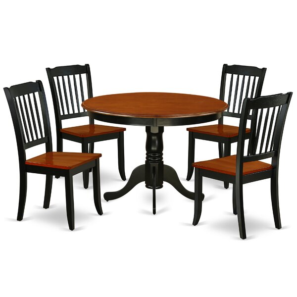 Korhonen 5 Piece Solid Wood Dining Set by August Grove