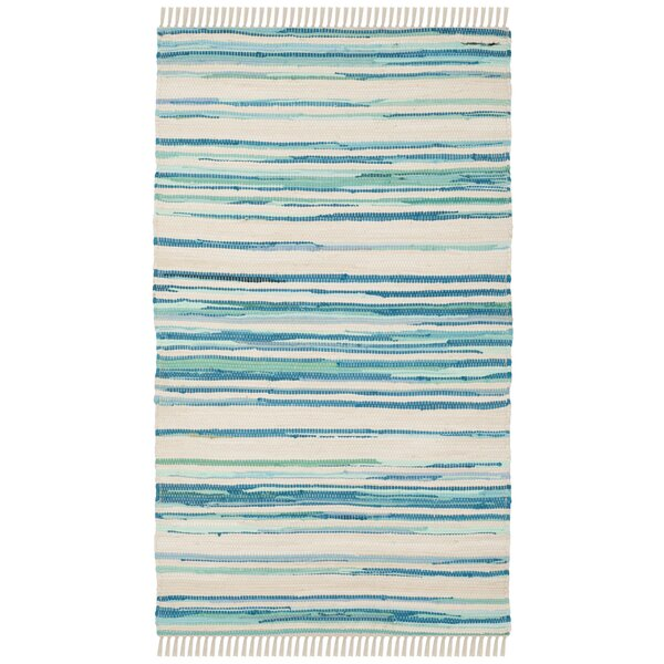 Saleem Hand-Woven Ivory/Green Area Rug by Bungalow Rose