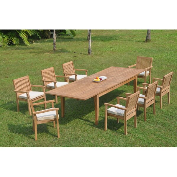 Delano 9 Piece Teak Dining Set by Rosecliff Heights