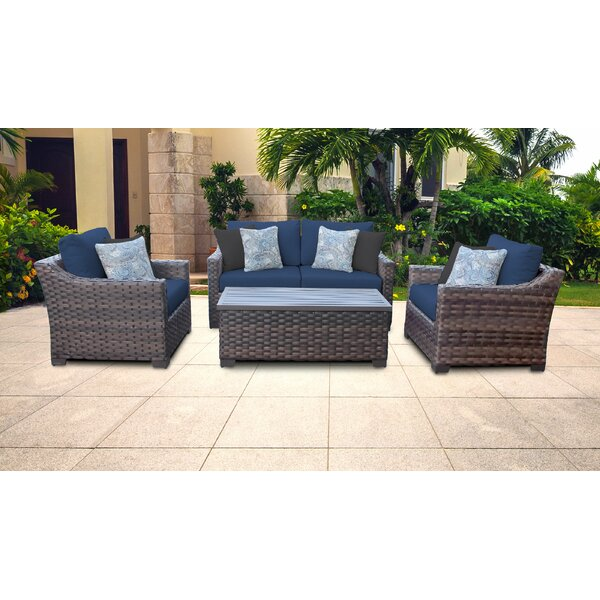 kathy ireland Homes & Gardens River Brook 5 Piece Rattan Sofa Seating Group with Cushions by kathy ireland Homes & Gardens by TK Classics
