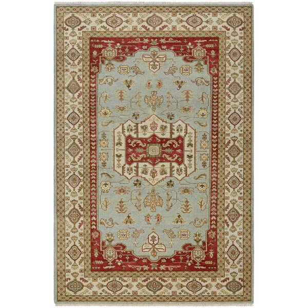 Brian Opal Hand-Knotted Rust/Sage Green Area Rug by Darby Home Co
