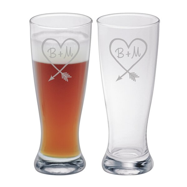 Darkey Carved Heart Grand Pilsner Glass (Set of 2) by Mint Pantry