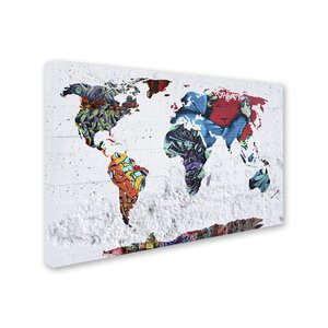 'Map Graffiti' Graphic Art Print on Wrapped Canvas by Trademark Fine Art