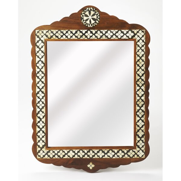 Rectangle Brown/Cream Wall Mirror by Astoria Grand