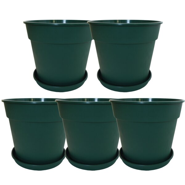 Mayra Round Line Common Plastic Pot Planter (Set of 5) by Charlton Home